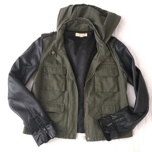 Army Jacket w/ Leather Sleeves